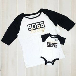 Mommy & Me Raglan Bundle Boss 3-6 M L XL NEW